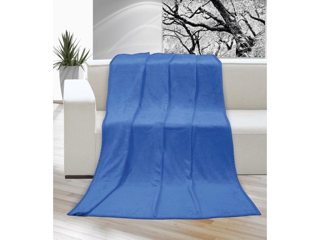 Hřejivá deka příjemná na dotek Korall micro 400g/m2 150x200 cm modrá