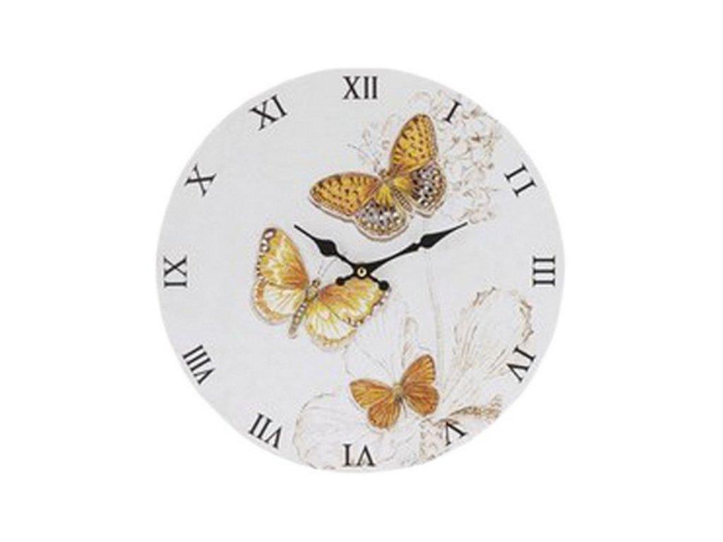 Hodiny nástěnné kulaté průměr 33 cm motýlci barva žlutá