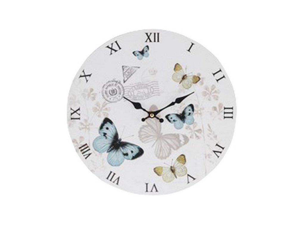 Hodiny nástěnné kulaté průměr 33 cm motýlci barva modrá