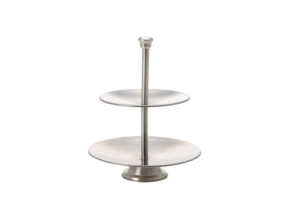 Etažér 2-patrový 27 cm stříbrný
