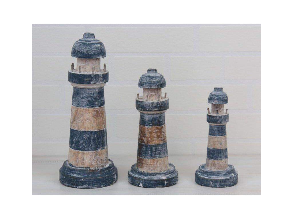 Dřevěný maják set 3 kusů přírodní/modrá