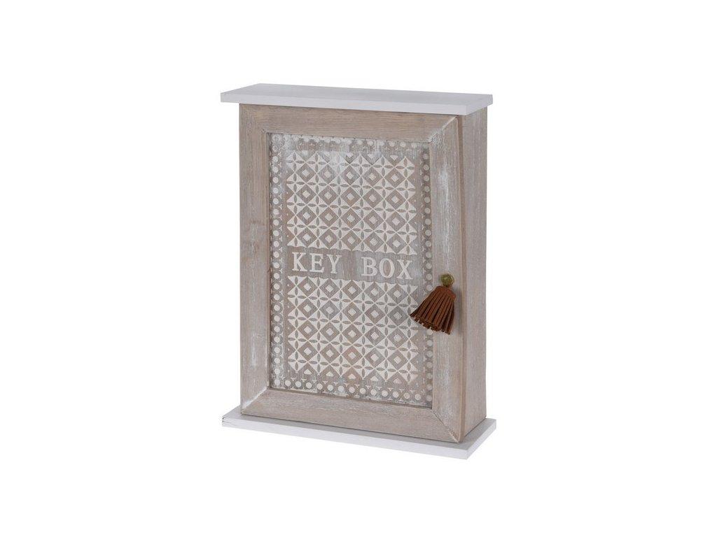 Dřevěná skříňka na klíče zavírací 7x20x27,50 cm přírodní