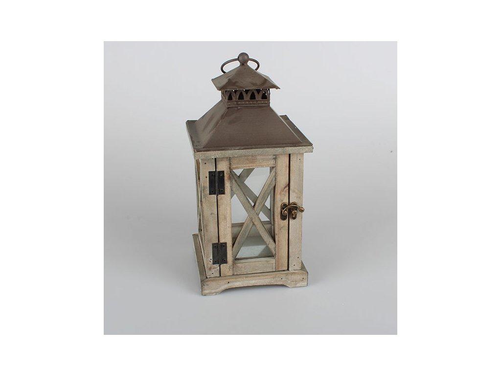 Dřevěná lucerna 16x16x34 cm přírodní/hnědá