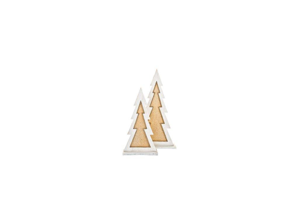 Dřevěná dekorace vánoční stromeček 23x12x5 bílá/zlatá