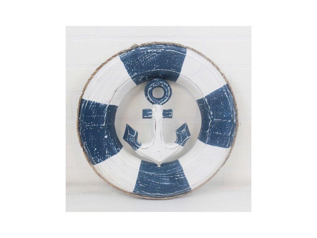 Dřevěná dekorace kruh s kotvou 30x30 cm bílá/modrá