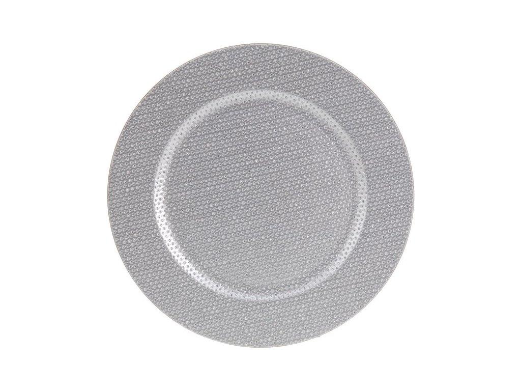 Dekorativní podnos kulatý průměr 33 cm stříbrný