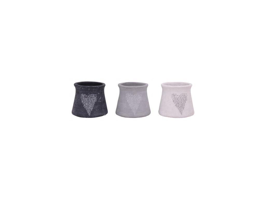 Dekorativní keramický obal na květináč šedý 17x17x14,5