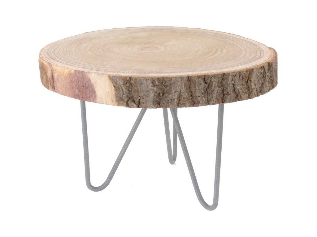 Dekorační stolek dřevěný cca 35x40 cm přírodní/šedá