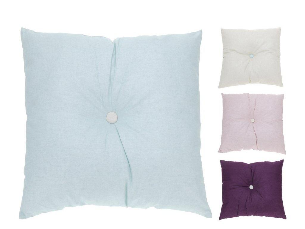 Dekorační polštářek s knoflíkem 45x45 cm fialová