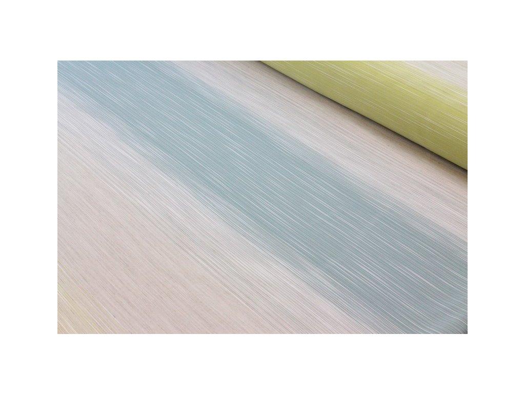 Dekorační látka vodorovné pruhy šíře 150 cm petrolejová/pistáciová