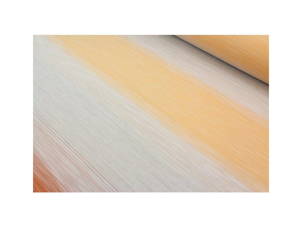 Dekorační látka vodorovné pruhy šíře 150 cm cihlová/žlutá
