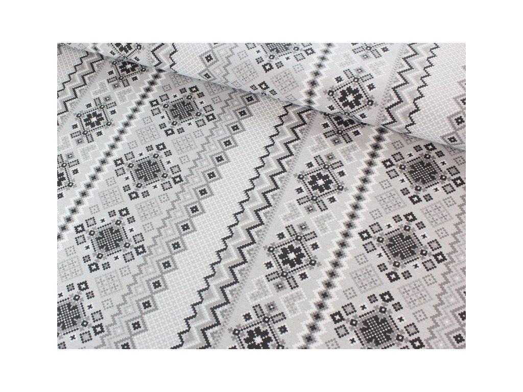 Dekorační látka šíře 140 cm černá/bílá/šedá