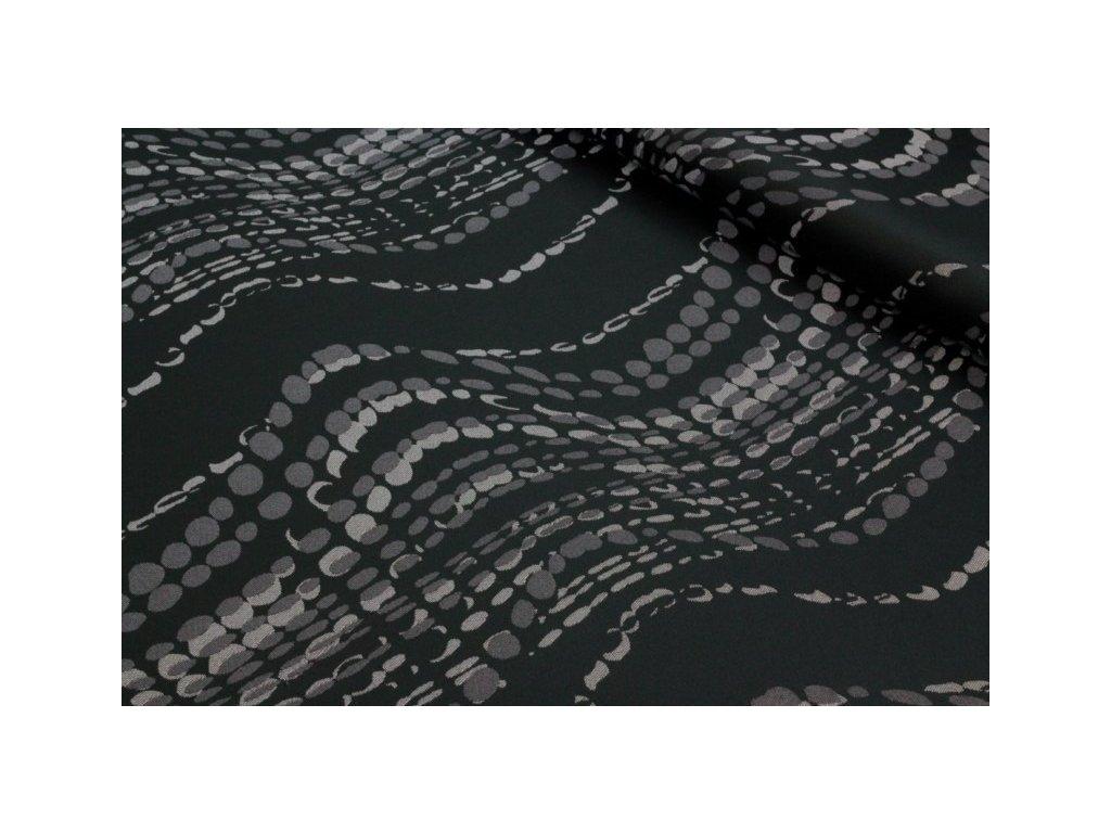 Dekorační látka se vzorem šíře 150 cm antracitová