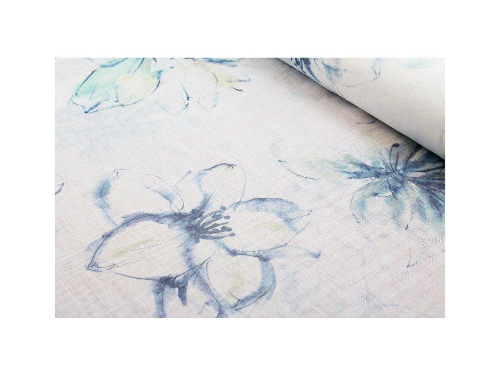 Dekorační látka se vzorem šíře 145 cm smetanová/modrá