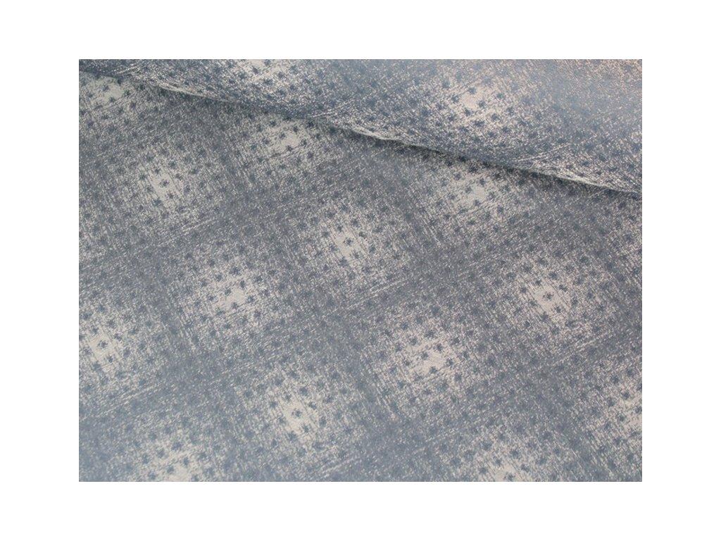Dekorační látka se vzorem šíře 140 cm tmavě modrá