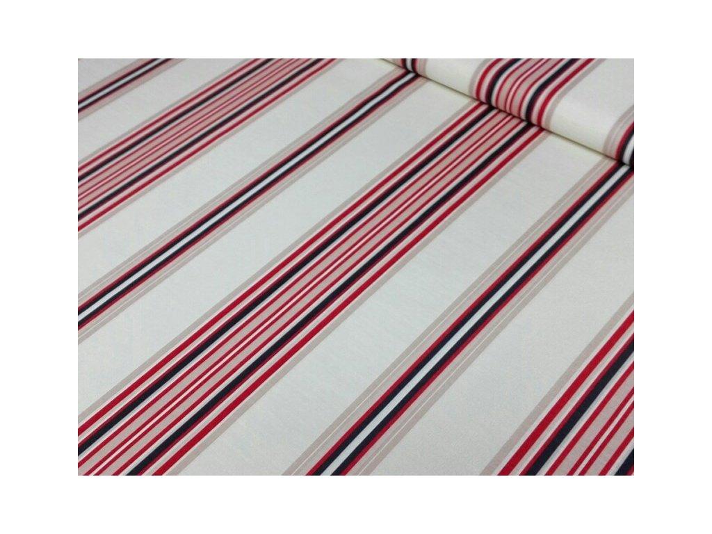 Dekorační látka se svislými proužky šíře 145 cm červená/smetanová