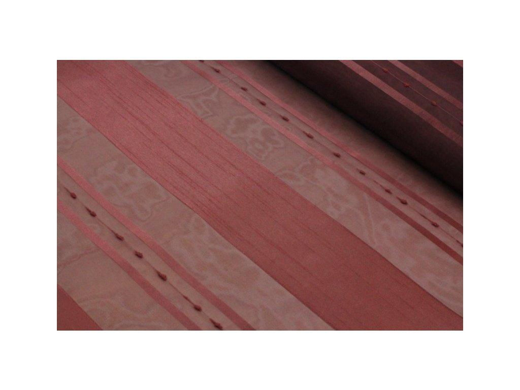 Dekorační látka s organzou pruhy šíře 150 cm karmínová