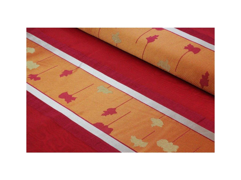 Dekorační látka s organzou pruhovaná šíře 150 cm červená