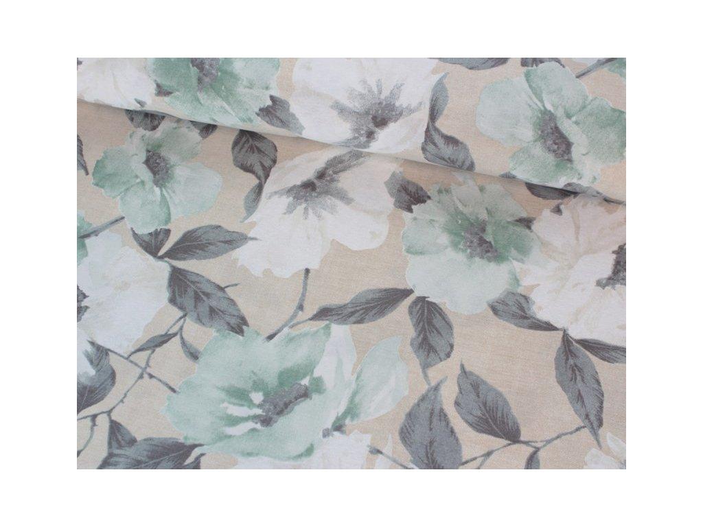 Dekorační látka s motivem větších květů šíře 140 cm zelená/šedá