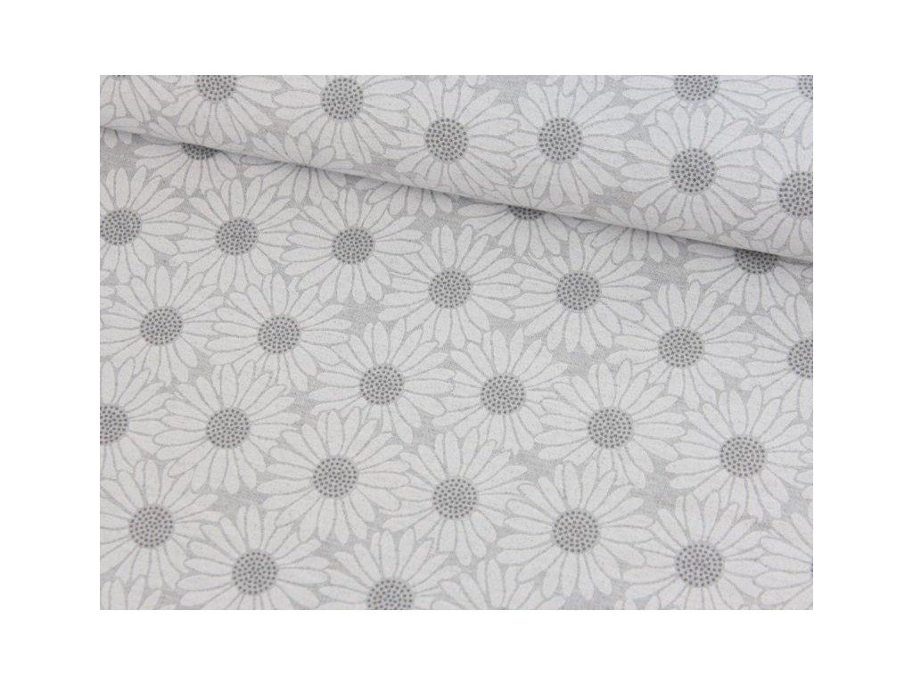 Dekorační látka s květinovým vzorem šíře 140 cm odstíny šedé