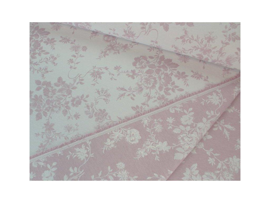 Dekorační látka s květinovým motivem šíře 140 cm starorůžová/bílá
