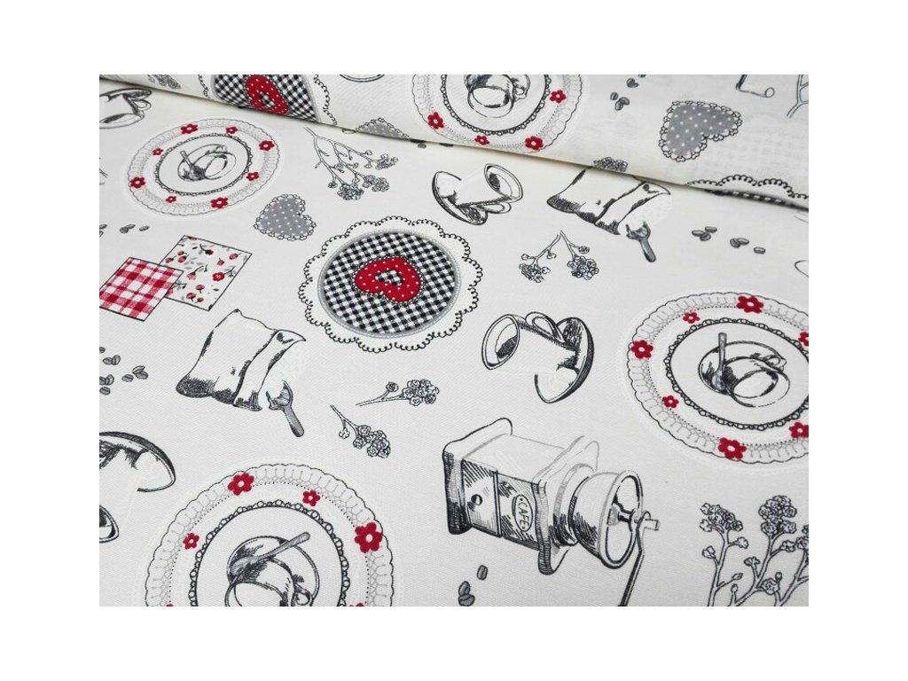 Dekorační látka s kuchyňským motivem šíře 140 cm červená/šedá