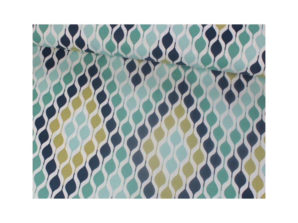 Dekorační látka s abstraktním vzorem šíře 180 cm mentolová/khaki