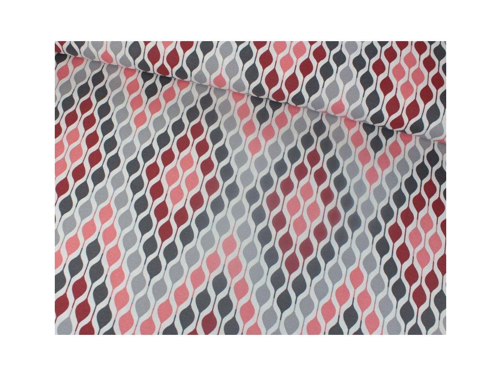 Dekorační látka s abstraktním vzorem šíře 180 cm cihlová/šedá