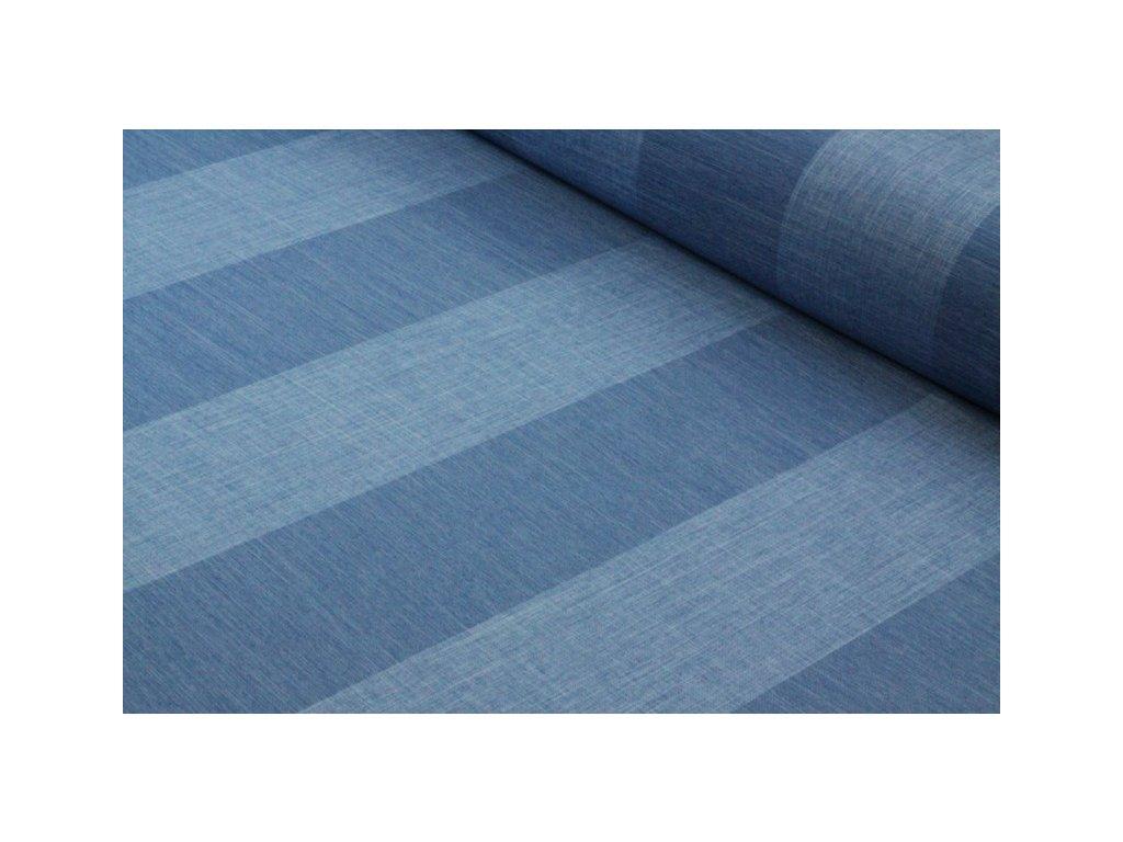 Dekorační látka pruhovaná šíře 140 cm modrá