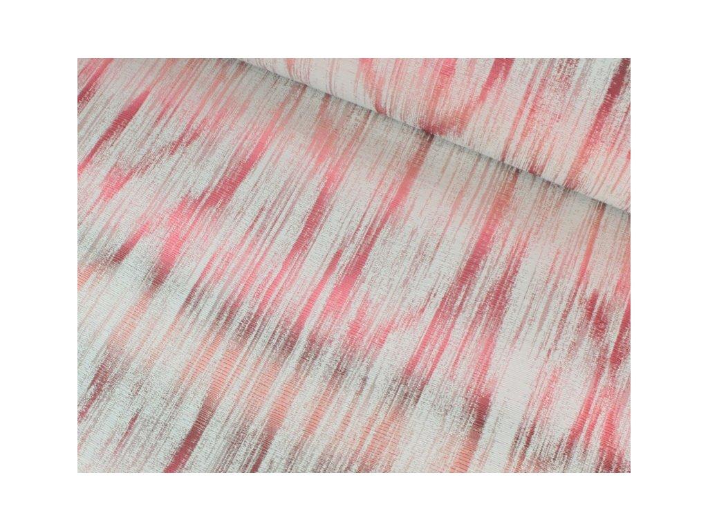 Dekorační látka melírovaná se vzorem šíře 140 cm bordó/růžová