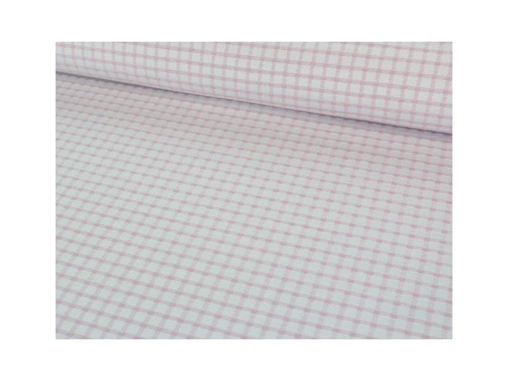 Dekorační látka kostkovaný motiv šíře 140 cm starorůžová/bílá