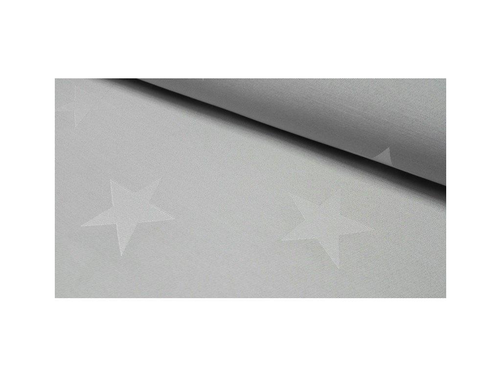 Dekorační látka Hvězdy šíře 140 cm světle šedá