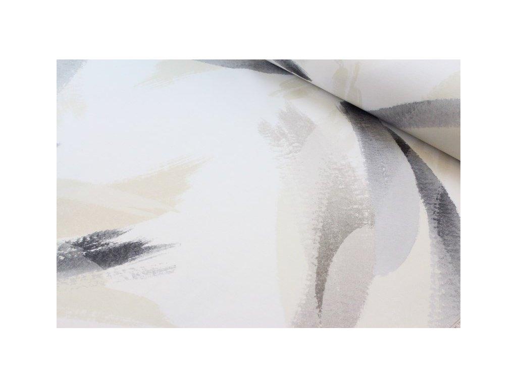 Dekorační látka abstraktní vzor Pantea 52 šíře 140 cm smetanová