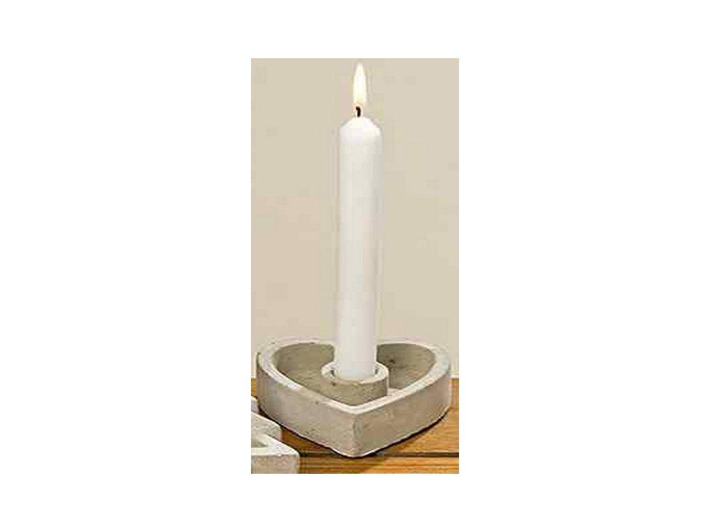 Betonový svícen srdce 10x9x3 cm šedé