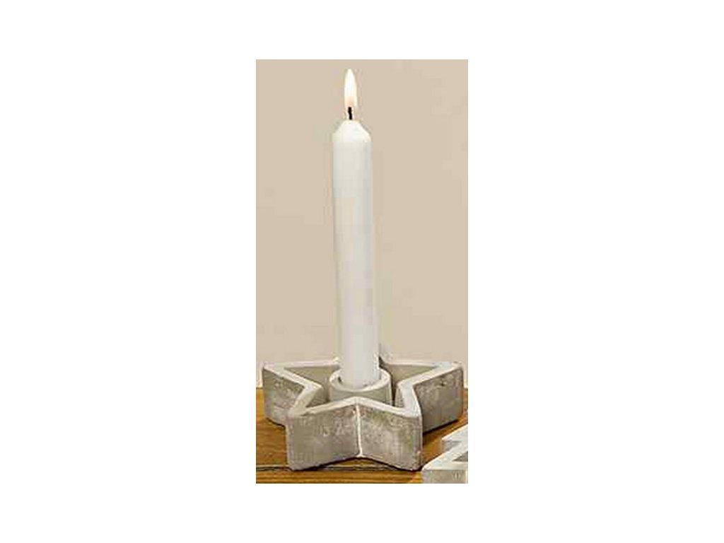 Betonový svícen hvězda 11x10x3,5 cm šedá