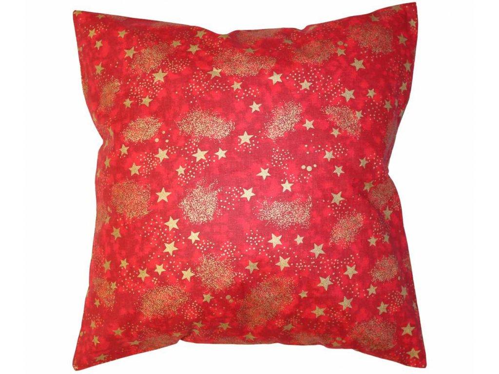 Bavlněný vánoční povlak 40x40 zlaté hvězdičky/červená