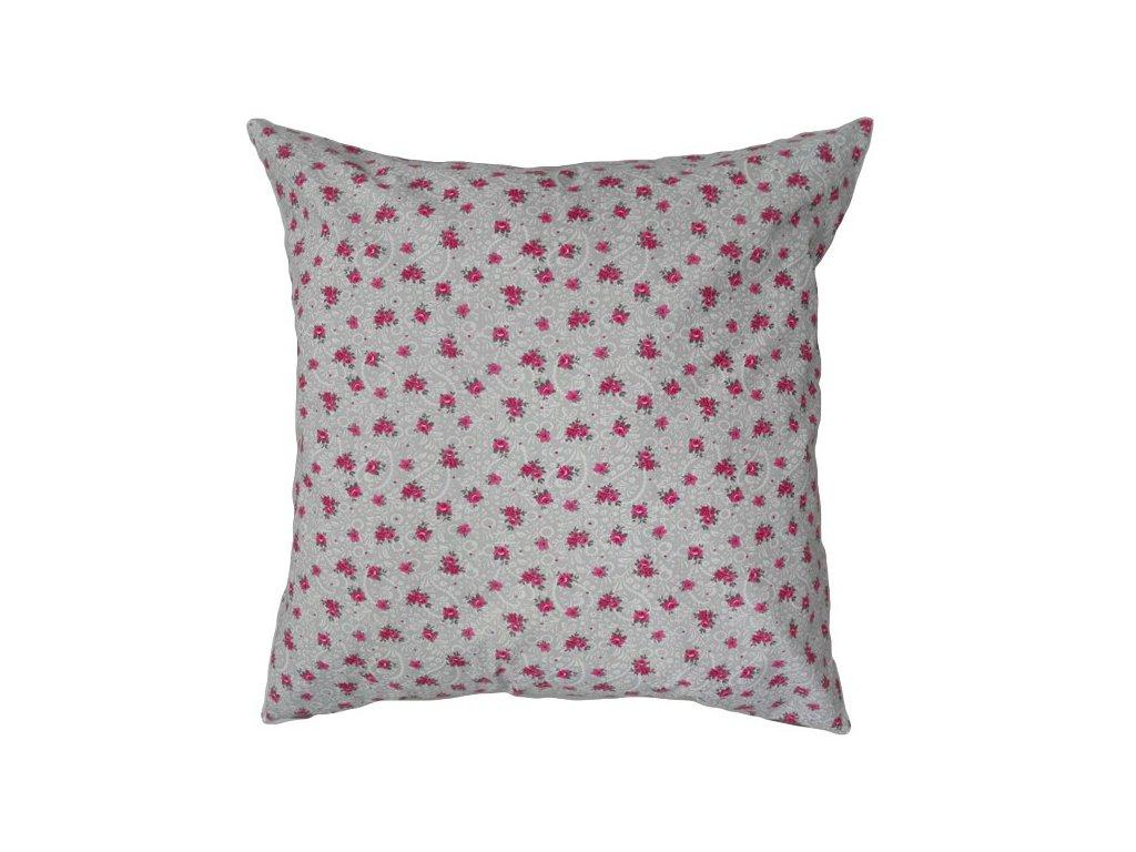 Bavlněný povlak s růžičkami 50x50 cm šedá/růžová