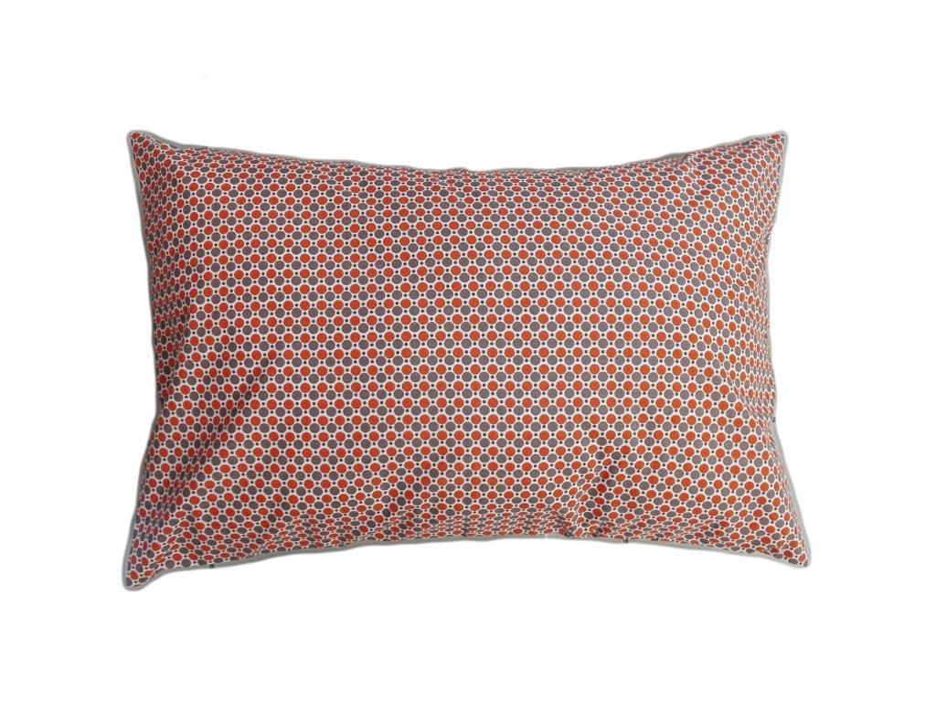 Bavlněný povlak s puntíky 70x90 cm hnědá/oranžová
