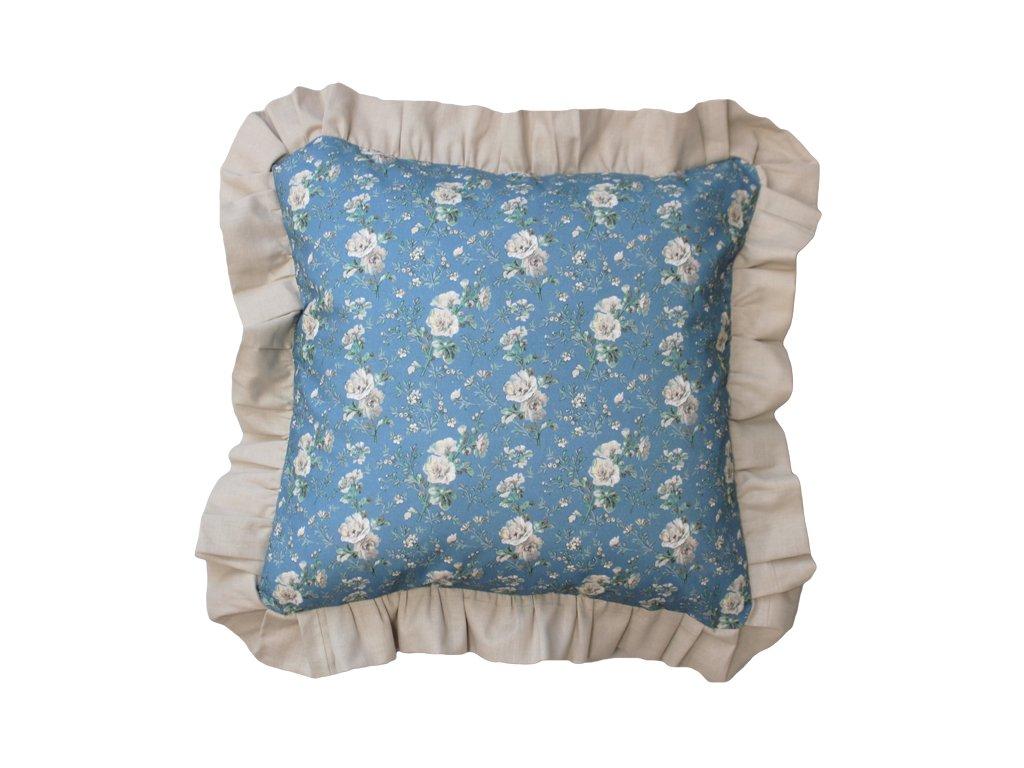 Bavlněný povlak s lemem 40x40 cm modrá/béžová