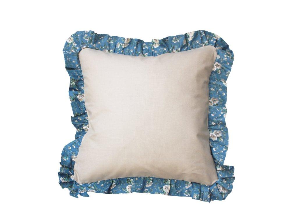 Bavlněný povlak s lemem 40x40 cm béžová/modrá