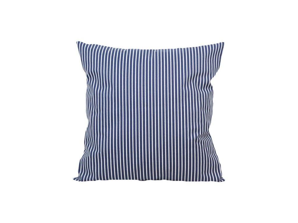 Bavlněný povlak s jemnými proužky 40x40 cm bílá/tmavě modrá