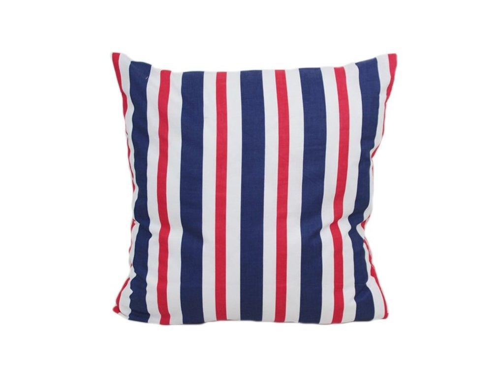 Bavlněný povlak Pruhy 40x40 cm bílá/modrá/červená