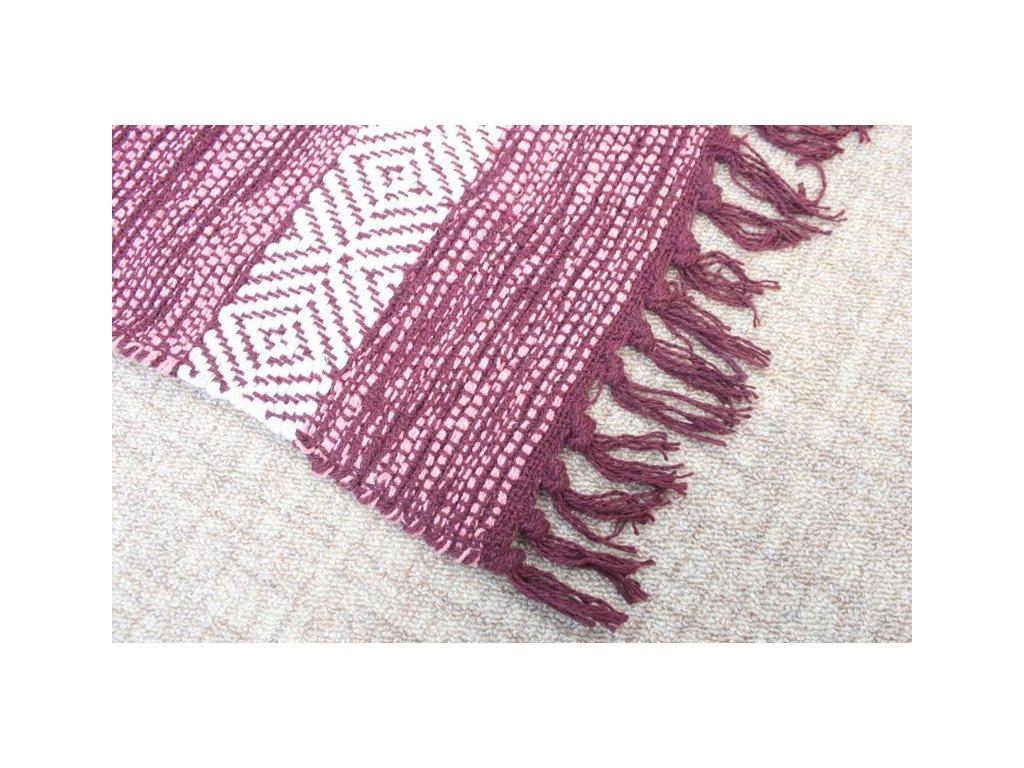 Bavlněný kobereček s třásněmi 50x80 cm vínový