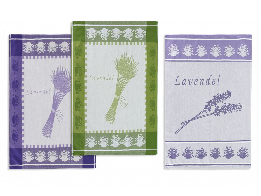 Bavlněné utěrky s levandulí 50x70 cm fialová/zelená 3 kusy v balení, 240g/m2