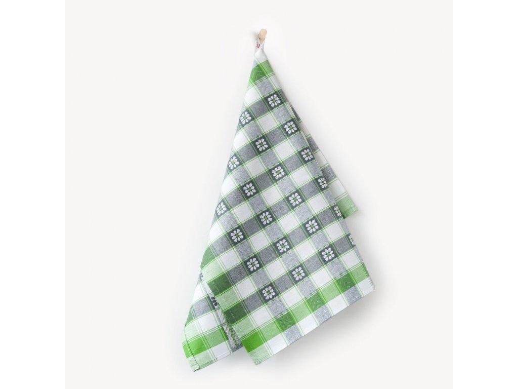 Bavlněné utěrky Káro-zelené č.2 3ks 50x70 cm bílá/šedá/zelená