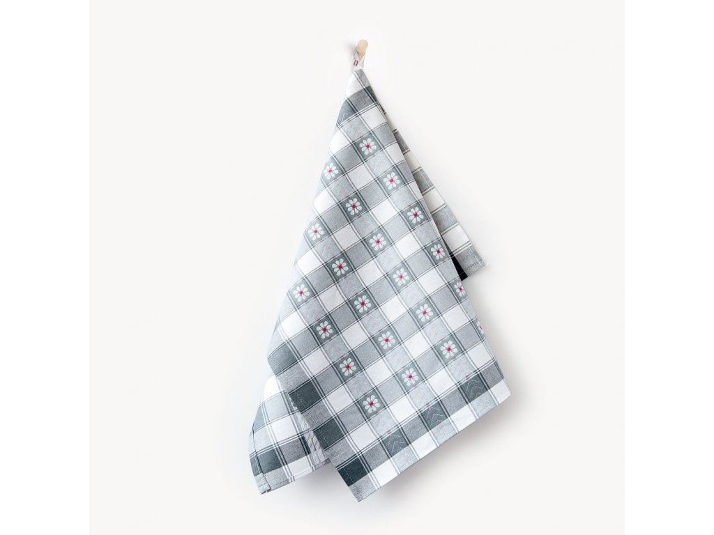 Bavlněné utěrky Káro-šedé 3ks 50x70 cm bílá/šedá