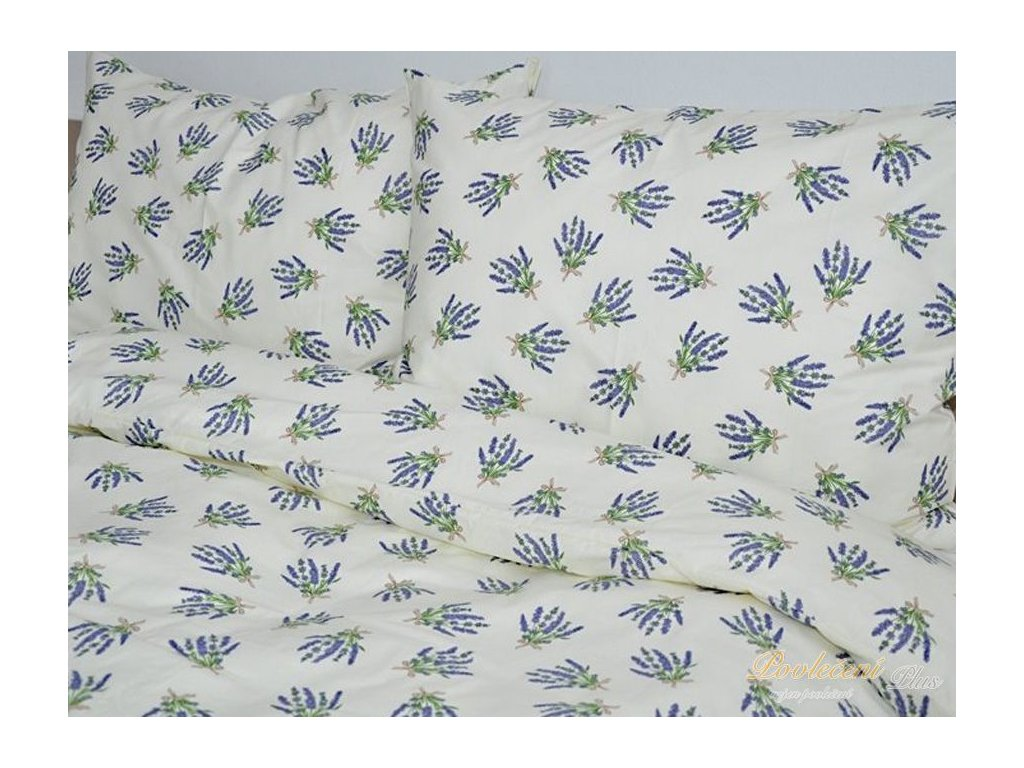 Bavlněné povlečení Levandulová kytka 70x90, 140x200 cm