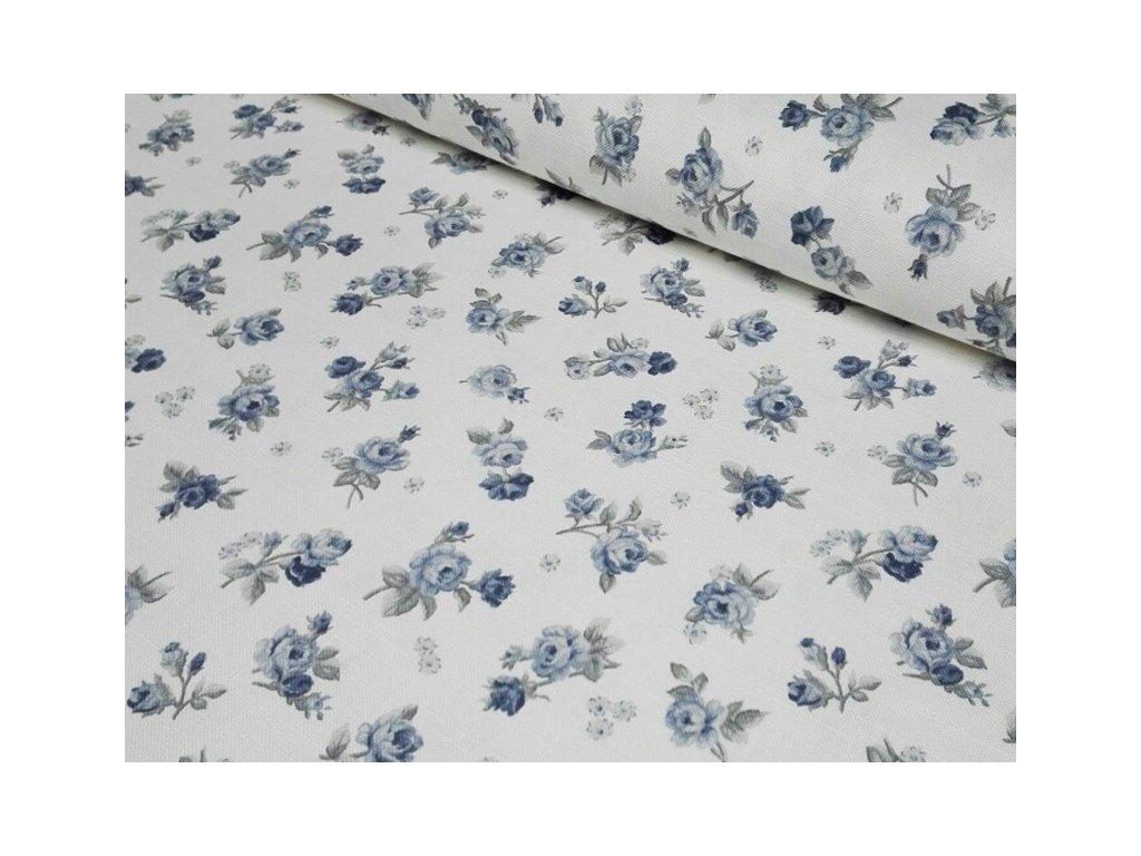 Bavlněná látka s růžičkami 210g/m2 šíře 140 cm modrá/šedá