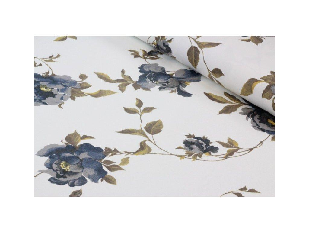 Bavlněná látka s květy šíře 140 cm smetanová