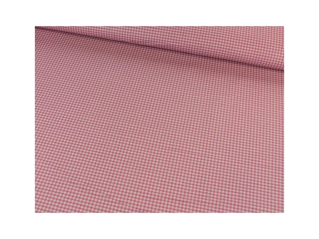 Bavlněná látka PEPITO kostička 110g/m2 šíře 115 cm růžová/béžová